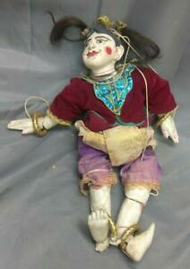 Old Vintage Wood Pottery Hand Painted Carved Marionette Girl Doll Puppet Statue