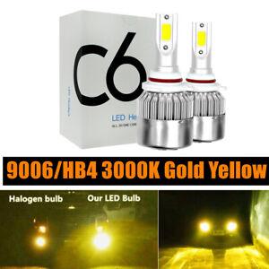 2PCs 9006 HB4 3000K Gold Yellow LED Headlight Bulbs Kit High Low Beam 4000LM 36W