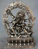 "8 ""Old China Tibet Tibetan Buddhism Temple Silver Mahakala Wrathful Deity Statue"
