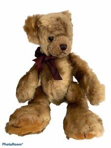 "Bearington Collection ""Theodore"" Bear Brown Plush Stuffed Teddy Bear With Bow"