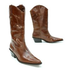 Matisse Ladies 8 M Cowboy Boots Brown Turquoise Leather Floral Pull on Western
