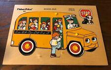 Vintage 1974 Fisher Price Pick Up & Peek SCHOOL BUS Wood Puzzle #515 13 Pieces
