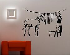 stile Bansky ZEBRA LAVAGGIO Adesivo vinile da parete citazione GRAFFITI
