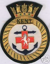 UK British HMS Royal Navy Kent Patch Badge Ship Frigate Destroyer Cruiser Class