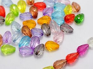 """100 Mixed Colour Transparent Acrylic Faceted Teardrop Charms Beads 9X14mm(0.55"""")"""