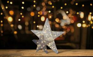 31cm Double Layer Light Up Star Decoration - Silver