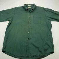 LL Bean Mens Oxford Shirt Green Short Sleeve Wrinkle Resistant Pocket Casual XL