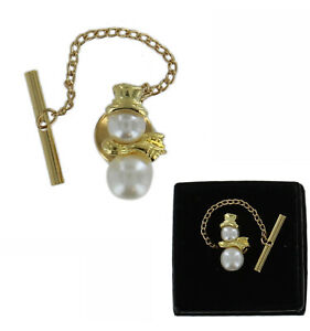 Gold Tone White Faux Pearl Snowman Tie Tack Mens Gift Boxed