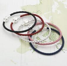 Genuine Leather Bracelet Black, Red, Pink By Pandora's Rose 15-25cm