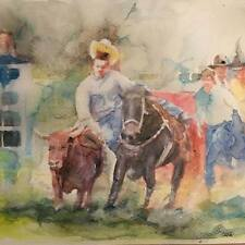 "A-676 Original Watercolor Painting ""Rodeo"" Gift Idea Calgary Stampede"