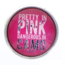 Snap glass Prayer Pink Camo button charms Interchangable Jewelry Fits 18mm Brac