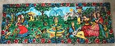 VINTAGE HAND PAINTED CANVAS MURAL LADIES & GENTS FOUNTAIN & DEER