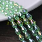 New 30pcs 12X8mm Faceted Teardrop Crystal Glass Spacer Loose Beads Lt Green AB