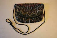 Hand Made Multi-Colored Beaded Black Ladies Evening Bag Purse