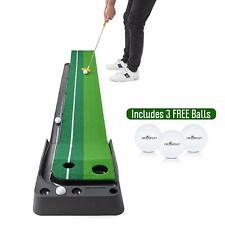Abco Tech Indoor Golf Putting Green Portable Practice Mat Auto Ball Return 9.85'