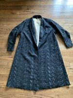 Vintage Black Embroidered Long Jacket Duster The House Of Golden Size Small