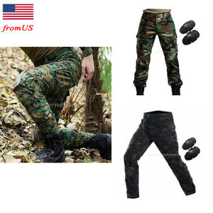 Tactical Military Combat Pants Trousers with Knee Pads for Airsoft Hiking USA