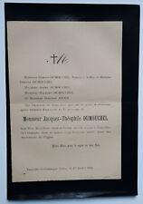 JACQUES THEOPHILE DUMOUCHEL Jouen FAIRE PART Tourville la Campagne 1896