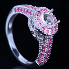 925 Sterling Silver Oval Vintage Natural Diamonds & Rubies Semi Mount  Fine Ring
