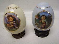 "Hummel Lot of 2 Porcelain Hummel Eggs ""Merry Wanderer"" & ""Umbrella Girl"" MIB"