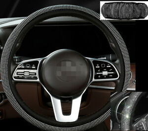 White Shiny Diamond Steering Wheel Cover Protector Car Accessories For Girl Lady
