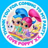 PERSONALISED SHIMMER & SHINE GLOSS BIRTHDAY PARTY SWEET CONE STICKERS  4 SIZES