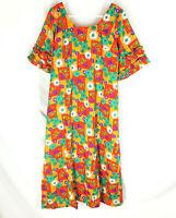 VINTAGE Hawaiian Dress Size Medium Barkcloth Multi Color Floral Mod Retro 70's