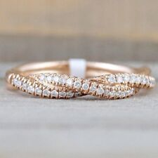 Women Fashion Solid Rose Gold Stack Twisted Ring Wedding Party Lady Jewelry Gift