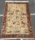 """Silk RUG, AN AWESOME HUNTING DESIGN, SIGNED SILK RUG 8'5"""" X 5'4"""""""