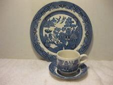 Blue Willow 3 Piece Dinnerware Set Plate Cup & Saucer Churchill NIB England