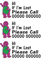 Barney and Friends Kids Safety HOLIDAY EMERGENCY Phone Number Temp Tattoo X 3