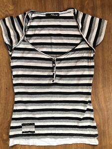 JANE NORMAN Grey Black & White Striped Button Front Top Size 10