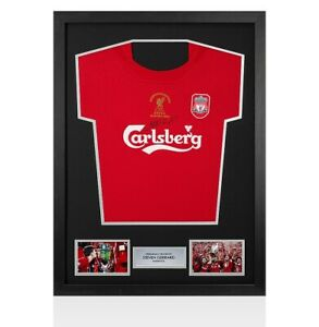 Framed Steven Gerrard Signed Liverpool Shirt - Istanbul 2005 Champions League Wi