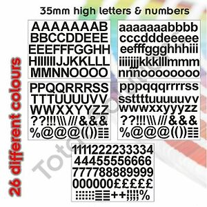 35mm Self Adhesive Vinyl Sticker Letters and Numbers  - Upper & Lowercase