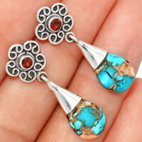 Spiny Oyster & Arizona Turquoise & Garnet 925 Silver Earrings BE23896 202I