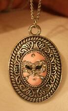 Swirl Rimmed Etch Detail Silvertone Pink Finish Mardi Gras Mask Pendant Necklace