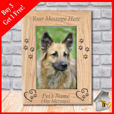 More details for personalised engraved wooden pet dog puppy photo frame keepsake memorial gift