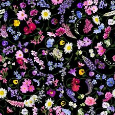 Fabric Flowers Wild Swirled Timeless Treasures Black Cotton by 1/4 yard 7569