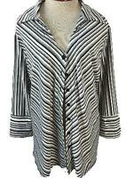 Anxiety top size 3X black white gray stripe 3/4 sleeve stretch button down