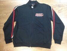 Harley Davidson Genuine Cadet Jacket Black Mens Cotton Fleece Jumper Full Zip