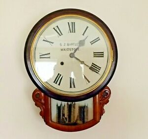 ANTIQUE ANGLO AMERICAN DROP DIAL WALL CLOCK. TIME/STRIKE. S J BARTLETT MAIDSTONE