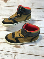 Gap Kids Boys Youth 2 Canvas Leather High Top Sneakers Boots Shoes Beige Black