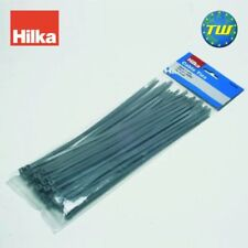 Hilka High Quality Strong 50pc Cable Zip Fastening Wrap Ties 250mm Grey Tie