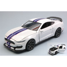 FORD SHELBY GT350R 2016 WHITE WITH BLUE STRIPES 1:24 New Ray Auto Stradali