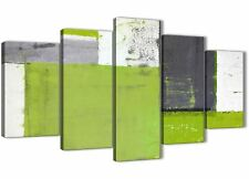 XL Lime Verde Grigio Pittura Astratta Tela Stampa - 5 PART-larghezza 160 cm - 5339