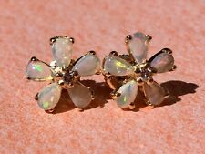 Genuine Opal and Diamond Earrings Solid 14K Yellow Gold