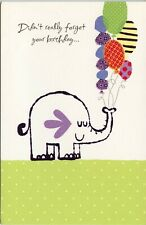 American Greetings Belated Birthday Card: Elephant Holding a Bunch of Balloons