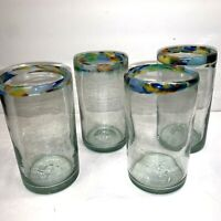 4 HAND BLOWN TUMBLER GLASSES PALE GREEN WITH COLORFUL CONFETTI RIMS 5 3/4''