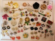 HUGE Vintage Mod Flower Jewelry LOT Lisner Germany England Hobe Sterling Bugbee+