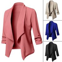Plus Size Women Waterfall Cardigan Ladies 3/4 Sleeve Blazer Suit Jacket Coat NEW